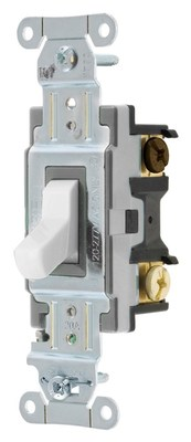 Hubbell Wiring Device-Kellems CSB320W Cooper Wiring CSB320W 3-Way Toggle Switch; 20 Amp, 120/277 Volt, White