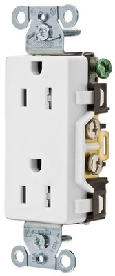 Hubbell Wiring Device-Kellems DR15WHITR DR15WHITR HUBL-WD TAMP RES, DECO FACE, 15A 125V, 5-15R,WH