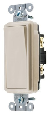 Hubbell Wiring Device-Kellems DS120LA Hubbell Wiring DS120LA Heavy Duty Specification Grade Two Position AC Decorator Switch; 1-Pole, 120 - 277 Volt AC, 20 Amp, Light Almond