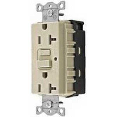 Hubbell Wiring Device-Kellems GFR20SNAPLANA Hubbell Wiring GFR20SNAPLANA SNAPConnect® Decorator Heavy Duty Specification Grade Tamper and Weather Resistant GFCI Straight Blade Duplex Receptacle; 2-Pole, 3-Wire, 20 Amp, 125 Volt AC, 5-20R NEMA, Screw Mount, Light Almond