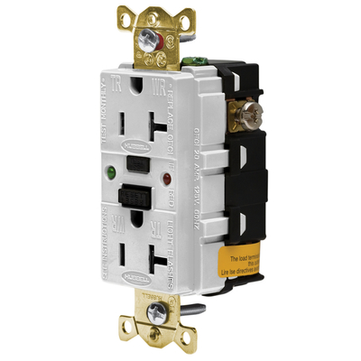 Hubbell Wiring Device-Kellems GFR5362SGW Hubbell GFR5362SGW 20A125V Indl Tamper St Gfci White