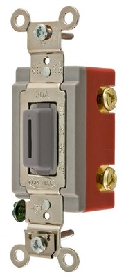 Hubbell Wiring Device-Kellems HBL1221LG Hubbell HBL1221LG Sp Tog Ind Grd 20A 120277V Lk Gy