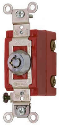 Hubbell Wiring Device-Kellems HBL1221RKL Hubbell Wiring HBL1221RKL Two Position Barrel Key Rotary Locking Switch; 1-Pole, 120 - 277 Volt AC, 20 Amp, Chrome
