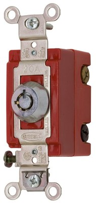 Hubbell Wiring Device-Kellems HBL1223RKL Hubbell HBL1223RKL 3 Way Tog Ind Grd 20A 120277V Lock