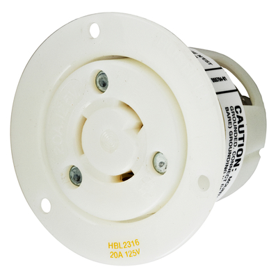 Hubbell Wiring Device-Kellems HBL2316 Hubbell HBL2316 Lkg FlgRcpt 20A 125V L520R Wh