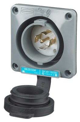 Hubbell Wiring Device-Kellems HBL2515SW Hubbell HBL2515SW Lkg Wt SShrd Inlt20A120208VL2120P
