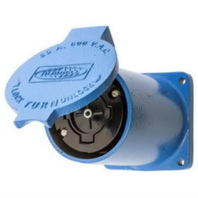 Hubbell Wiring Device-Kellems HBL26520 Hubbell Wiring HBL26520 Hubbellock® Heavy Duty Single Receptacle; 4-Pole, 5-Wire, 60 Amp, 600 Volt AC, Screw Mount, Blue