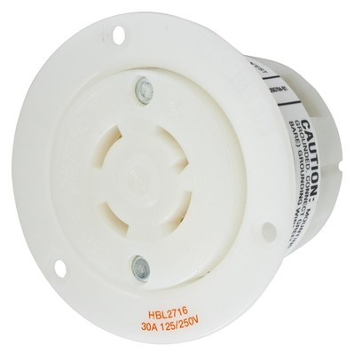 Hubbell Wiring Device-Kellems HBL2716 Hubbell HBL2716 Wiring Device-Kellems Receptacle, Flanged, 30A, L14-30