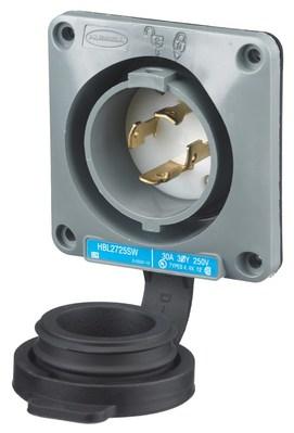 Hubbell Wiring Device-Kellems HBL2725SW Hubbell HBL2725SW Lkg Wt SShrd FlInlt30A 3P 250VL530P
