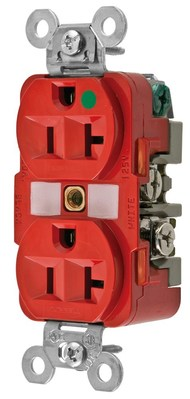 Hubbell Wiring Device-Kellems HBL8300RED Hubbell HBL8300RED Dup Rcpt Hg 20A 125V 520R Rd