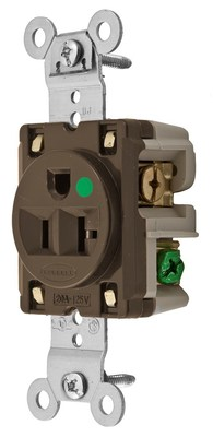 Hubbell Wiring Device-Kellems HBL8310 Hubbell Wiring HBL8310 Heavy Duty Specification Grade Straight Blade Single Receptacle; 2-Pole, 3-Wire, 20 Amp, 125 Volt AC, 5-20R NEMA, Screw Mount, Brown