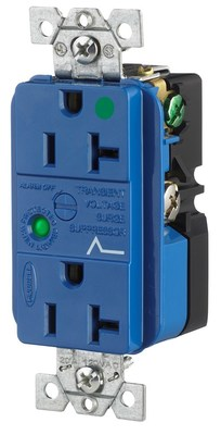 Hubbell Wiring Device-Kellems HBL8362SA Hubbell HBL8362SA Dup Spd Rcpt Hg 20A 125V 520R Bl