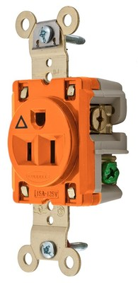 Hubbell Wiring Device-Kellems IG5261 Hubbell Wiring IG5261 Compact Heavy Duty Specification Grade Straight Blade Single Receptacle; 2-Pole, 3-Wire, 15 Amp, 125 Volt, 5-15R NEMA, Screw Mount, Orange, Isolated