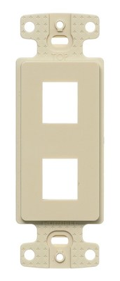 Hubbell Wiring Device-Kellems NS612I Hubbell Wiring NS612I 1-Gang Decorator Frame; Box/Wall/Strap, (2) Port, Keystone, High Impact Resistant Thermoplastic, Ivory