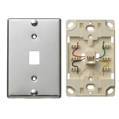 Hubbell Wiring Device-Kellems NS723SS Hubbell Wiring NS723SS NetSelect® Telephone Wall Jack; 6P4C, Stainless Steel