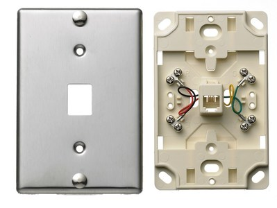 Hubbell Wiring Device-Kellems NS726SS Hubbell Wiring NS726SS Netselect® Telephone Wall Jack; 6P4C, Screw Mount, Stainless Steel