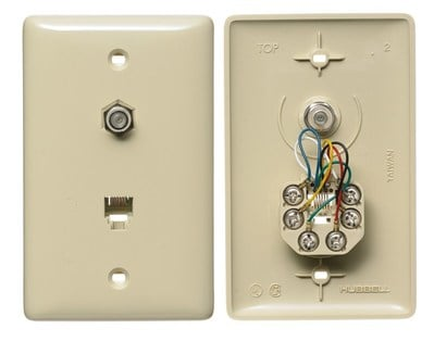 Hubbell Wiring Device-Kellems NS748I Hubbell Wiring NS748I NetSelect® 1-Gang Wall Jack Plate; Wall, Thermoplastic, Electric Ivory