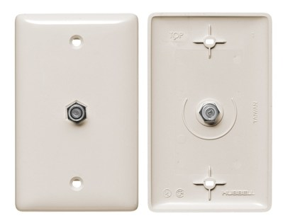 Hubbell Wiring Device-Kellems NS751LA Hubbell Wiring NS751LA Netselect® Mid Size 1-Gang Molded-In Plate; Wall Mount, Thermoplastic, Light Almond