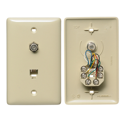 Hubbell Wiring Device-Kellems NS755I Hubbell NS755I Wiring Cable / RJ11 Jack, 1 Gang, Ivory