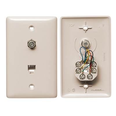 Hubbell Wiring Device-Kellems NS755LA Hubbell NS755LA Wiring Cable / RJ11 Jack 1 Gang, Light Almond