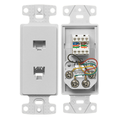 Hubbell Wiring Device-Kellems NS784W Hubbell Wiring NS784W Netselect® 1-Gang Decorator Frame; (1) 6P4C RJ11 Jack, (1) CAT 5e 110 Punchdown, Screw Mount, High Impact Resistant Thermoplastic, White