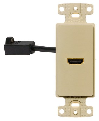 Hubbell Wiring Device-Kellems NS801I Hubbell Wiring NS801I Netselect® 1-Gang Decorator Frame; (1) Pigtail HDMI Connector, Snap-On/Snap-Fit Mount, High Impact Resistant Thermoplastic, Ivory