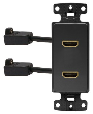 Hubbell Wiring Device-Kellems NS802BK Hubbell Wiring NS802BK Netselect® 1-Gang Decorator Frame; (2) Pigtail HDMI Connector, Snap-On/Snap-Fit Mount, High Impact Resistant Thermoplastic, Black