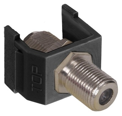 Hubbell Wiring Device-Kellems NSF70BK Hubbell Wiring NSF70BK Netselect® F-Type Connector; Female, Brass Connector Polymer Housing, Nickel-Plated, Snap-On/Screw Mount