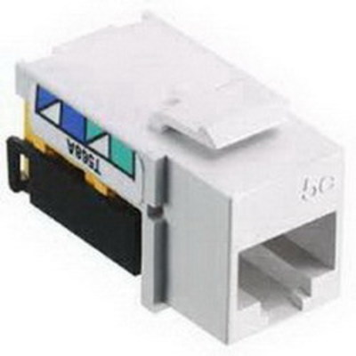Hubbell Wiring Device-Kellems NSJ5ELA Hubbell Wiring NSJ5ELA NetSelect® Universal A/B Standard Size Category 5e Modular Voice/Data Jack; Screw Mount, Light Almond
