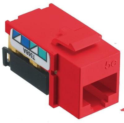 Hubbell Wiring Device-Kellems NSJ5ER Hubbell Wiring NSJ5ER Netselect® CAT 5e Modular Jack; 8P, Screw Mount, Red