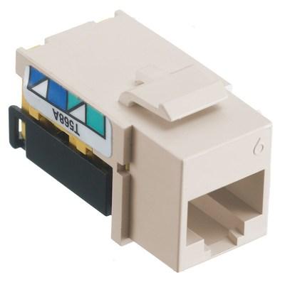 Hubbell Wiring Device-Kellems NSJ6LA Hubbell Wiring NSJ6LA NETSELECT® Universal Snap-In Category 6 Modular Voice/Data Jack; 1 Port, 8 Position, Screw Mount, Light Almond, Smooth