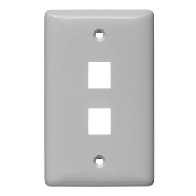 Hubbell Wiring Device-Kellems NSP12GY Hubbell Wiring NSP12GY Netselect® Multimedia Standard 1-Gang Faceplate without Label; 2-Port, Screw Mount, High Impact Resistant Thermoplastic, Gray