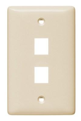 Hubbell Wiring Device-Kellems NSP12LA Hubbell Wiring NSP12LA 1-Gang Multimedia Faceplate; Box/Flush, (2) Port, Keystone, Flame Retardant ABS, Light Almond