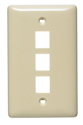 Hubbell Wiring Device-Kellems NSP13I Hubbell Wiring NSP13I Netselect® Standard Size 1-Gang Multimedia Face Plate Without Label; Flush/Screw Mount, High Impact-Resistant Thermoplastic, Ivory