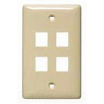 Hubbell Wiring Device-Kellems NSP14LA Hubbell Wiring NSP14LA Netselect® Standard Size 1-Gang Multimedia Face Plate Without Label; Flush/Screw Mount, High Impact-Resistant Thermoplastic, Light Almond
