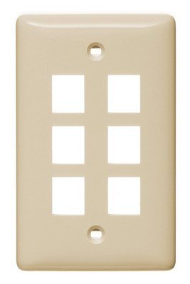 Hubbell Wiring Device-Kellems NSP16LA Hubbell Wiring NSP16LA Netselect® Standard Size 1-Gang Multimedia Face Plate Without Label; Flush/Screw Mount, High Impact-Resistant Thermoplastic, Light Almond