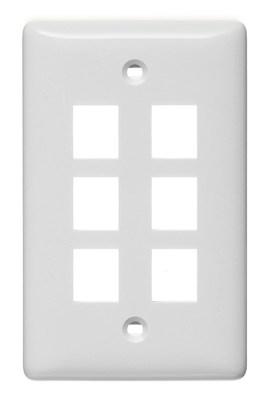 Hubbell Wiring Device-Kellems NSP16W Hubbell Wiring NSP16W 1-Gang Multimedia Faceplate; Box/Flush, (6) Port, Keystone, Flame Retardant ABS, White