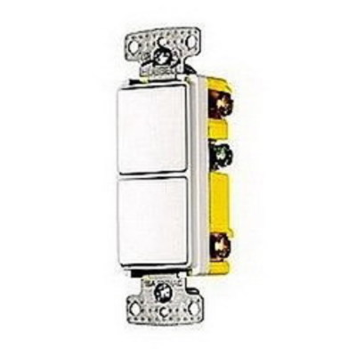 Hubbell Wiring Device-Kellems RCD101LA Hubbell Wiring RCD101LA TradeSelect® Homeselect™ Two Combination Quiet Rocker Switch; 120/277 Volt AC, 15 Amp, 1-Pole, Self Grounding, Light Almond