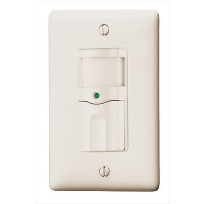 Hubbell Wiring Device-Kellems RMS100AL Hubbell Wiring RMS100AL H-Moss® Tradeselect® Bryant® Passive Infrared Vacancy Sensor; 120 Volt AC, 800 Sq ft, 1 Pole, Manual On/Automatic Off, Almond, Wall Mount