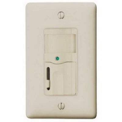 Hubbell Wiring Device-Kellems RMS120AL Hubbell Wiring RMS120AL H-Moss® Tradeselect® Bryant® Passive Infrared Dimming Vacancy Sensor; 120 Volt AC, 800 Sq ft, Manual On/Automatic Off, Almond, Wall Mount