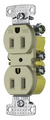 Hubbell Wiring Device-Kellems RR15SIWRTR Hubbell Wiring RR15SIWRTR TradeSelect® Weather-Resistant Tamper-Resistant Decorator Standard Size Straight Blade Duplex Receptacle; Screw Mount, 125 Volt, 15 Amp, 2-Pole, 3-Wire, NEMA 5-15R, Ivory
