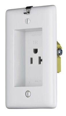Hubbell Wiring Device-Kellems RR201CHWTR Hubbell Wiring RR201CHWTR tradeSELECT® Tamper-Resistant Standard Sized Rectangular Straight Blade Clock Hanger/Recessed Receptacle; Screw Mount, 125 Volt, 20 Amp, 2-Pole, 3-Wire, NEMA 5-20R, White