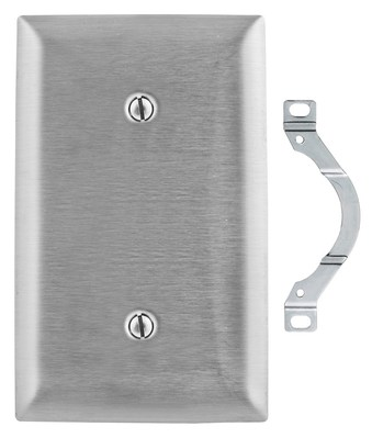 Hubbell Wiring Device-Kellems SS14L Hubbell Wiring SS14L 1-Gang Wallplate; Screw Mount, 430 Stainless Steel, Silver