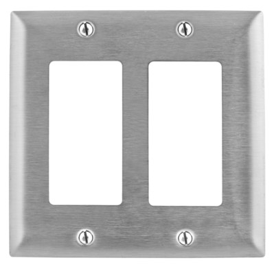 Hubbell Wiring Device-Kellems SS262L Hubbell SS262L Wall Plate 2G Gfci 430SS