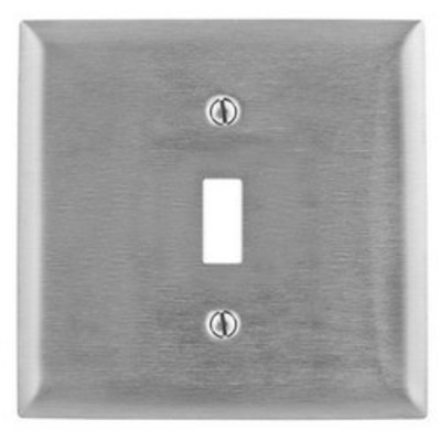 Hubbell Wiring Device-Kellems SS740 Hubbell Wiring SS740 2-Gang Toggle Switch Wallplate; 302/304 Stainless Steel