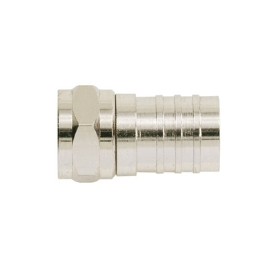 Ideal 85-017 Ideal 85-017 RG-6 Crimp-On F-Type Connector; Brass, Nickel-Plated, Card of 4