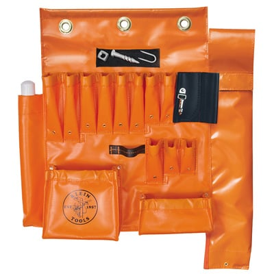 Klein Tools 51829MHS Klein Tools 51829MHS Aerial Apron With Magnet and Hot Stick; 10 Pockets, Orange