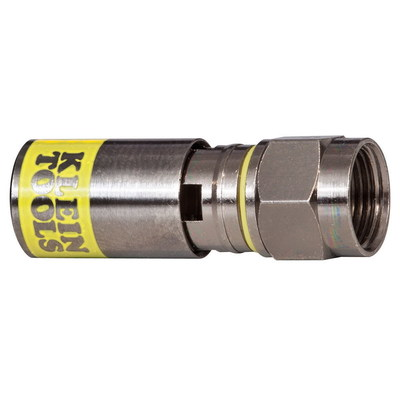 Klein Tools VDV812612 Klein Tools VDV812-612 Universal F Compression Connector; RG6/6Q, Solid Brass, Yellow/Nickel, 50/PK