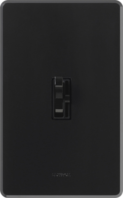 Lutron AYCL-153P-BL Lutron AYCL-153P-BL Ariadni® C. L™ Single Pole 3-Way Slide Dimmer with Toggle Switch; 120 Volt AC, 150 Watt, CFL/LED/Incandescent/Halogen, Black