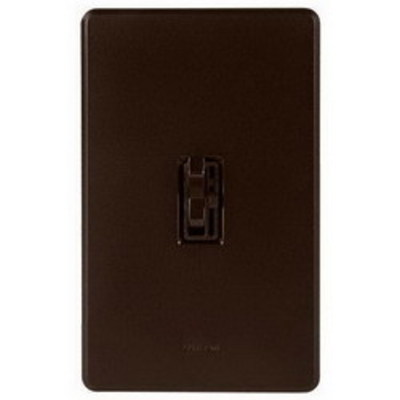 Lutron AYCL-153P-BR Lutron AYCL-153P-BR Ariadni® C. L™ Single Pole 3-Way Slide Dimmer with Toggle Switch; 120 Volt AC, 150 Watt, CFL/LED/Incandescent/Halogen, Brown